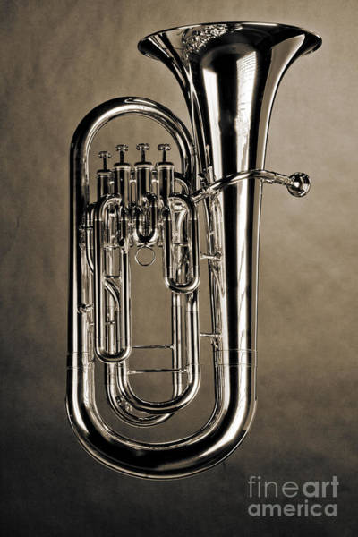 Wall Art - Photograph - Picture Of Bass Tuba Brass Instrument In Sepia 3394.01 by M K Miller