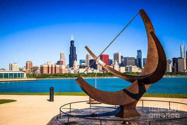Sears Tower Photograph - Picture Of Chicago Adler Planetarium Sundial by Paul Velgos