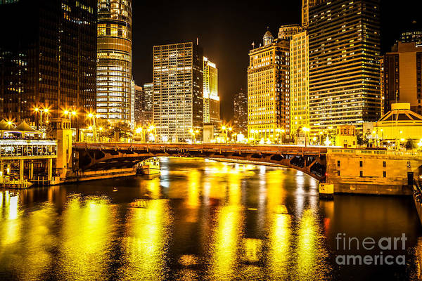 Wall Art - Photograph - Picture Of Chicago At Night With State Street Bridge by Paul Velgos