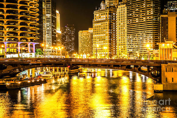 Wall Art - Photograph - Picture Of Chicago Dearborn Street Bridge At Night by Paul Velgos