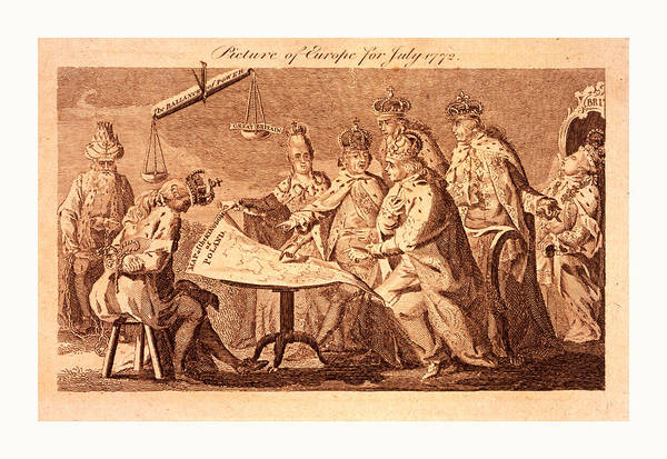 Influence Drawing - Picture Of Europe For July 1772, Catherine II, Leopold II by Litz Collection