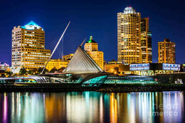 Wall Art - Photograph - Picture Of Milwaukee Skyline At Night by Paul Velgos