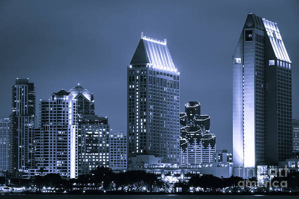 Condos Photograph - Picture Of San Diego Night Skyline by Paul Velgos