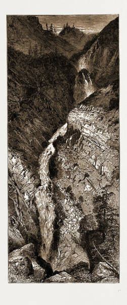 Elk Mountain Drawing - Picturesque America Elk Lake Cascade, Rocky Mountains by Litz Collection