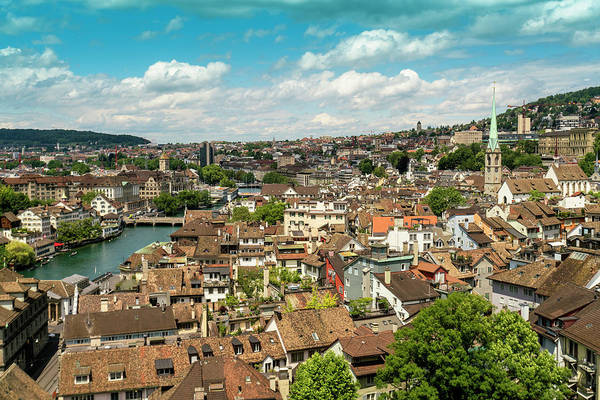 Zuerich Wall Art - Photograph - Picturesque Cityscape†along River by Tamboly Photodesign
