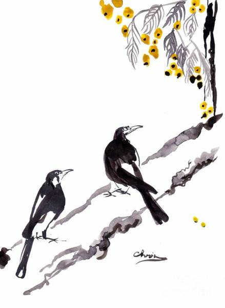 Magpies Drawing - Pie-up by Chris Irwin Walker