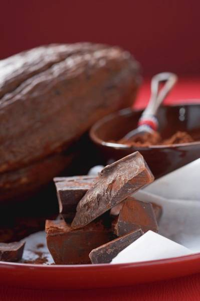 Wall Art - Photograph - Pieces Of Chocolate In Front Of Cocoa Powder And Cacao Fruit by Foodcollection