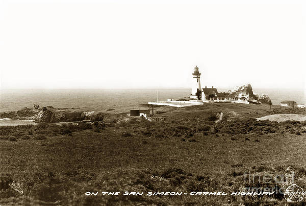 Photograph - Piedras Blancas Light Station San Simeon Carmel Highway Calif. Circa 1930 by California Views Archives Mr Pat Hathaway Archives