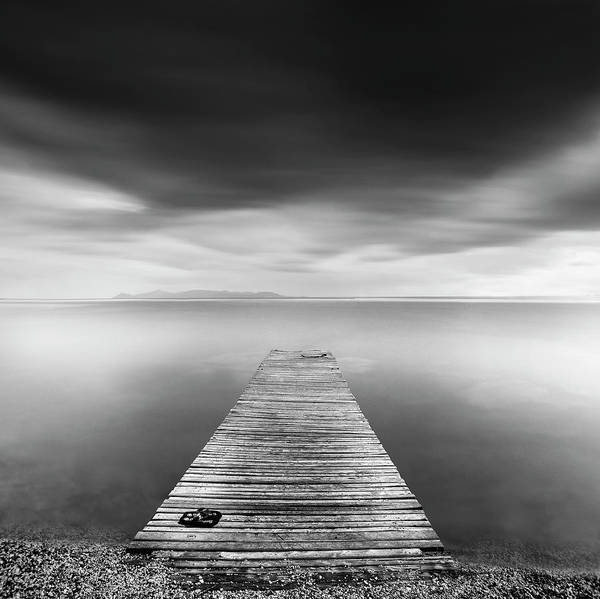 Tranquil Photograph - Pier With Slippers by George Digalakis