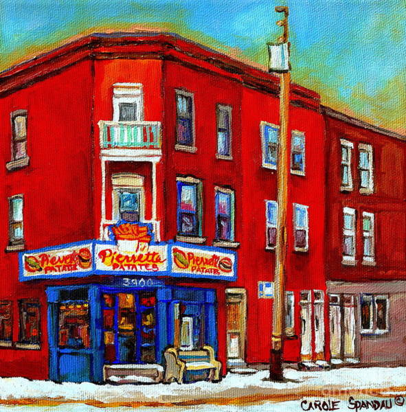 Painting - Pierrette Patates 3900 Verdun Restaurant Montreal Streets And Shops City Of Verdun Art Work Scenes by Carole Spandau