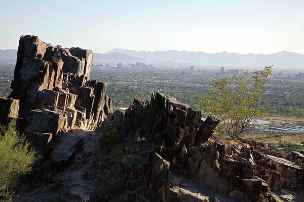 Indian Peaks Photograph - Piestewa Peak And The City Of Phoenix by Jim West