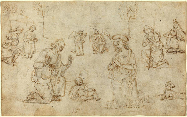 Wall Art - Drawing - Pietro Perugino, Italian C. 1450-1523, The Adoration by Litz Collection