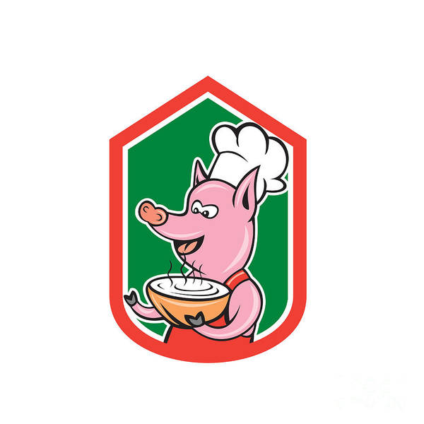 Serve Digital Art - Pig Chef Cook Holding Bowl Shield Cartoon by Aloysius Patrimonio