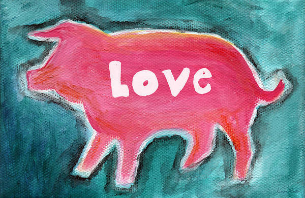 Pig Painting - Pig Love by Linda Woods