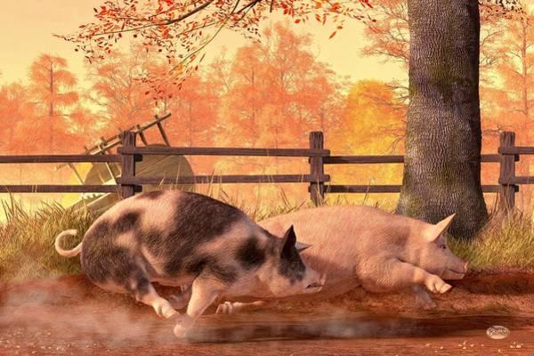 Bbq Digital Art - Pig Race by Daniel Eskridge