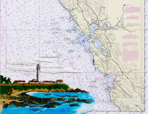 Noaa Chart Wall Art - Painting - Pigeon Point Lighthouse On Noaa Nautical Chart by Mike Robles
