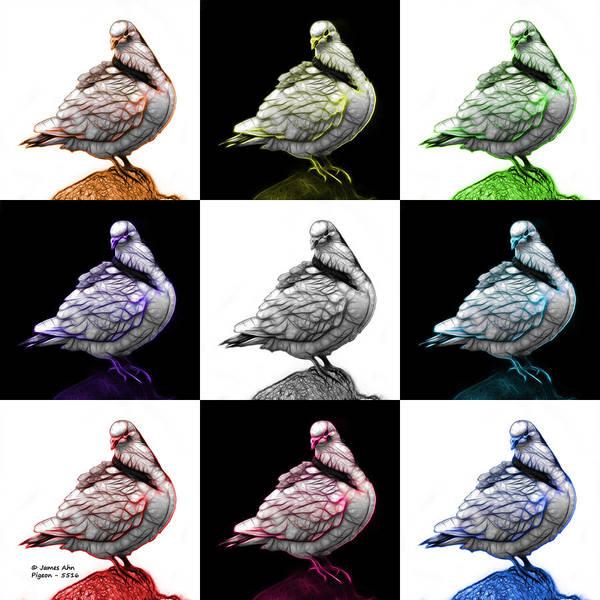 Digital Art - Pigeon Pop Art 5516 - Fs - V2 - M-  Modern Animal Artist James A by James Ahn