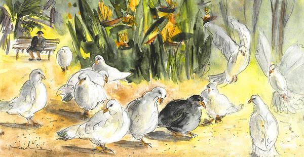 Benidorm Wall Art - Painting - Pigeons In Benidorm by Miki De Goodaboom