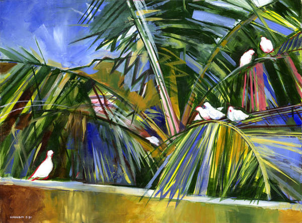 Coconut Painting - Pigeons On P4 by Douglas Simonson