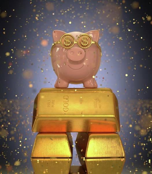 One Dollar Photograph - Piggy Bank On Gold Bullion by Ktsdesign