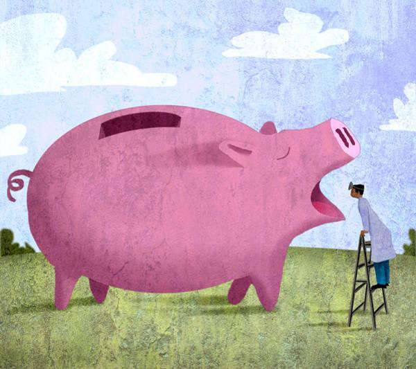 Insurance Digital Art - Piggy Bank by Steve Dininno