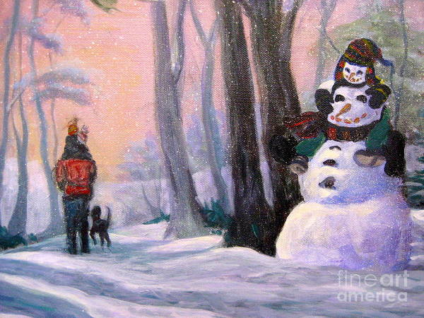 Wall Art - Painting - Piggyback Ride In Snow - 5 by Gretchen Allen