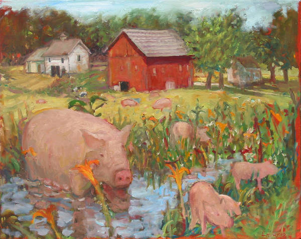 Pigs And Lilies Art Print