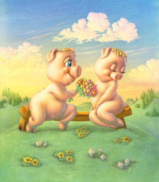 Andrew Farley Photograph - Pigs In Love by MGL Meiklejohn Graphics Licensing
