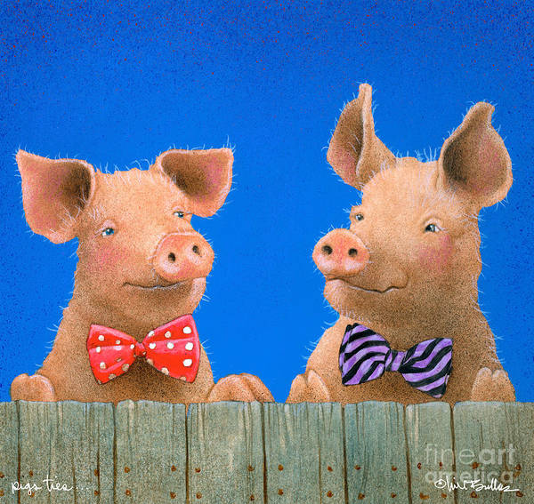 Wall Art - Painting - pigs ties... by Will Bullas by Will Bullas