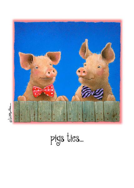 Necktie Wall Art - Painting - Pigs Ties... by Will Bullas