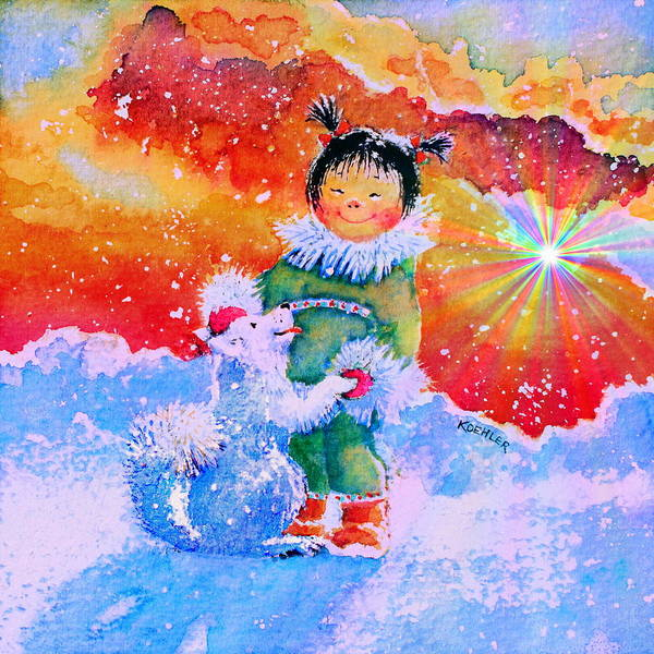 Inuit Painting - Pigtails And Wagging Tail by Hanne Lore Koehler