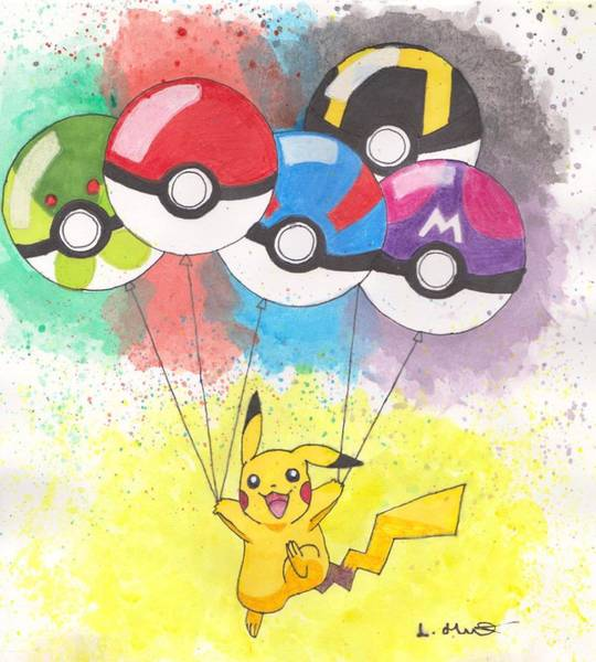 Pokemon Drawing - Pikachu With Pokemon Balls by Loren Hill