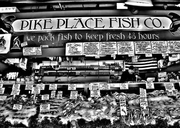 Pike Place Photograph - Pike Place Fish Co. Black And White by Benjamin Yeager