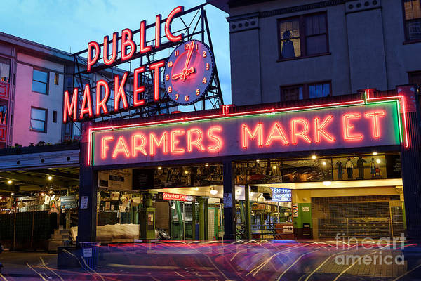 Pikes Place Wall Art - Photograph - Pike Place Market At Dusk - Seattle Washington by Silvio Ligutti
