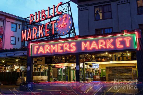 Public Places Wall Art - Photograph - Pike Place Market At Dusk - Seattle Washington by Silvio Ligutti