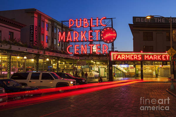 Photograph - Pike Place Market At Night by Bryan Mullennix