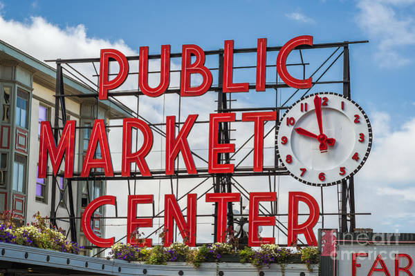 Photograph - Pike Place Market Sign In Seattle by Bryan Mullennix