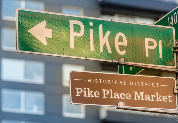 Pikes Place Photograph - Pike Place Market Sign by Steve Gadomski