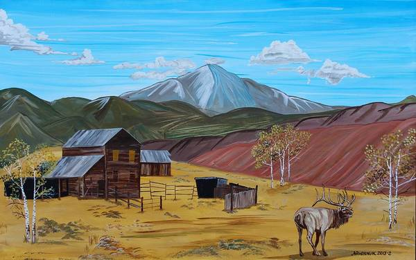 Pikes Peak Painting - Pikes Elk Butte by Mike Nahorniak