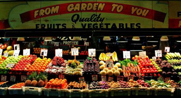 Wall Art - Photograph - Pikes Market Fruit Stand by Benjamin Yeager