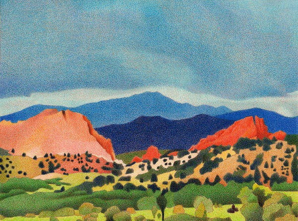 Drawing - Garden Of The Gods Pikes Peak by Dan Miller