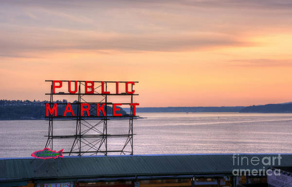 Photograph - Pike's Place Market At Sunset by Eddie Yerkish