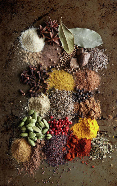Juniper Berries Wall Art - Photograph - Piles Of Various Spices On Metal Surface by Maren Caruso