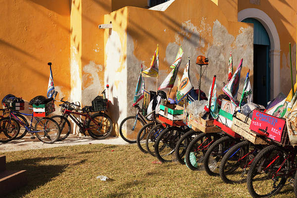 Campeche Photograph - Pilgrim Bicycles Outside Church by Dennis Walton