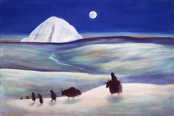 Yak Painting - Pilgrimage To Mount Kailash Tibet by Wicki Van De Veer