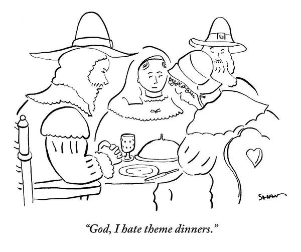Thanksgiving Drawing - Pilgrims At Thanksgiving Dinner Table by Michael Shaw