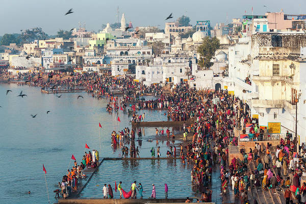 Holy City Photograph - Pilgrims At The Annual Hindu Pilgrimage by Peter Adams