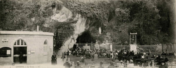Wall Art - Photograph - Pilgrims At The Grotto In Lourdes by Mary Evans Picture Library