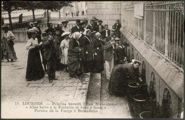 Bernadette Photograph - Pilgrims Drink The Water by Mary Evans Picture Library