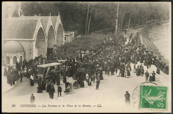 Bernadette Photograph - Pilgrims Outside Les Piscines  - by Mary Evans Picture Library